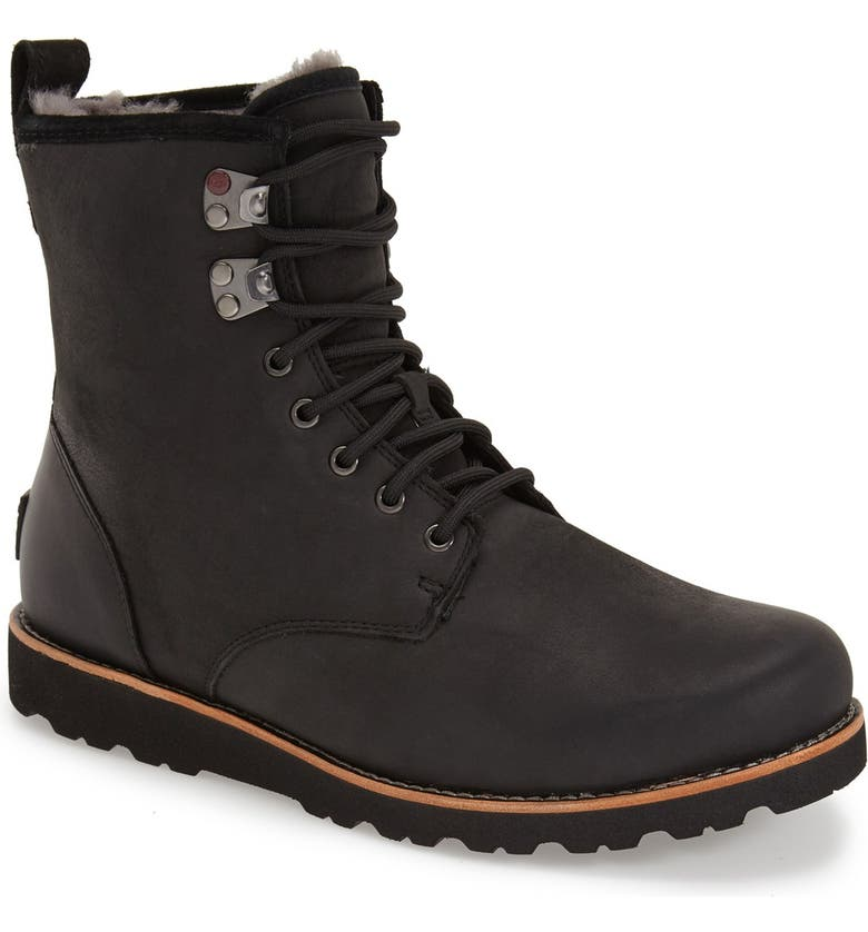 UGG<SUP>®</SUP> Hannen Plain Toe Waterproof Boot with Genuine Shearling, Main, color, BLACK