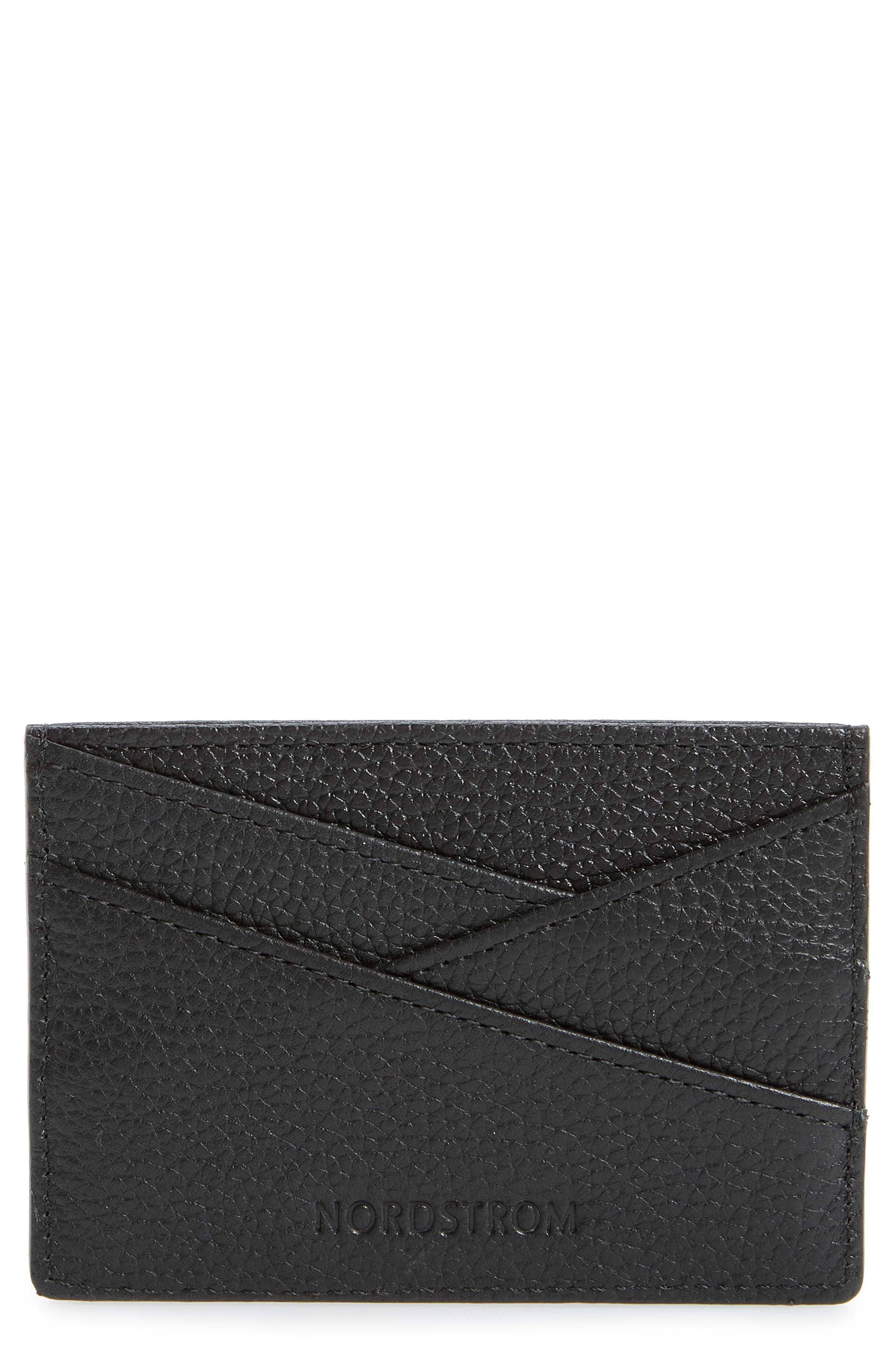 ,                             Alicia Leather Card Holder,                             Main thumbnail 1, color,                             BLACK