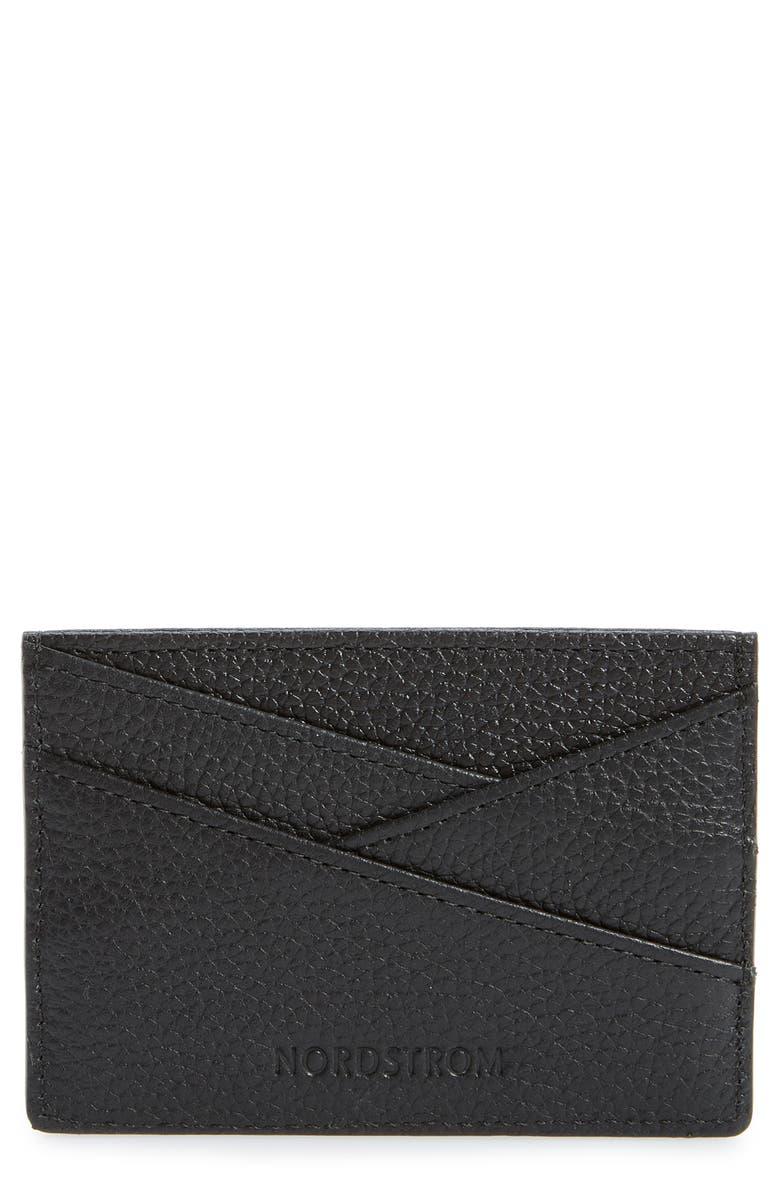 NORDSTROM Alicia Leather Card Holder, Main, color, BLACK
