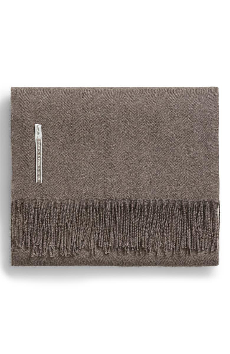 ALICIA ADAMS ALPACA Classic Solid Throw Blanket, Main, color, MOCHA