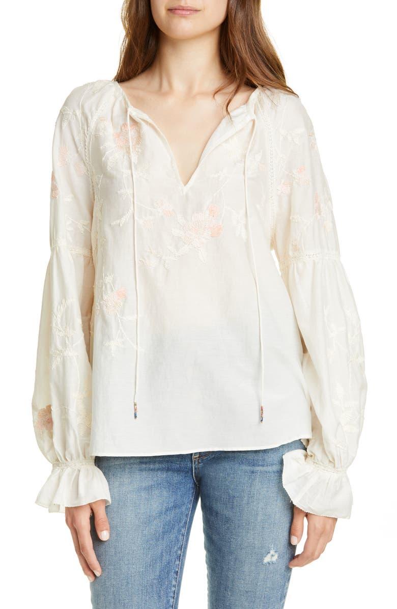 Love Sam Palais De Tokyo Cotton Silk Peasant Top