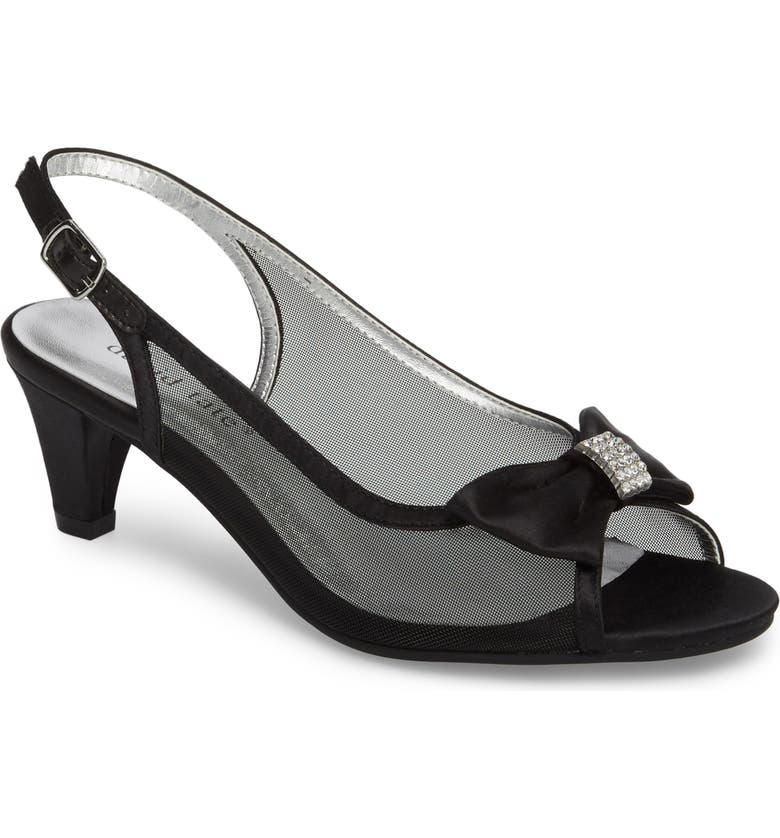 DAVID TATE Foxy Slingback Sandal, Main, color, BLACK SATIN
