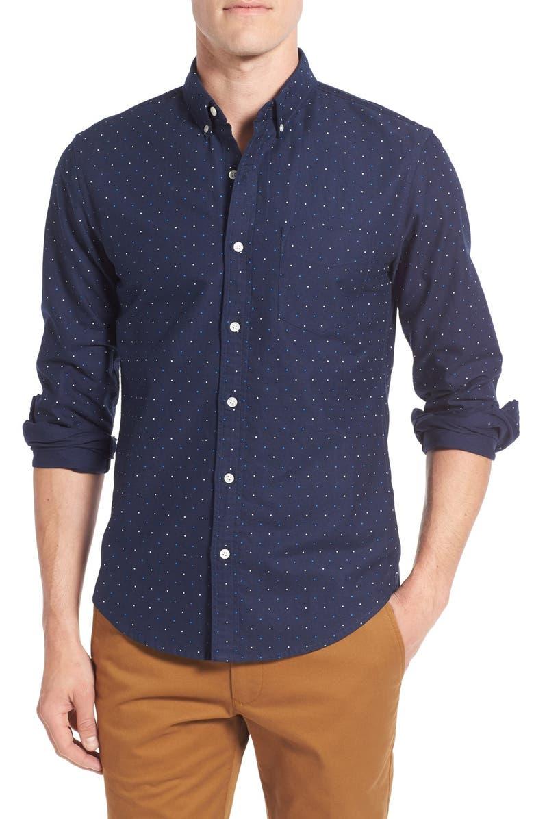 BONOBOS Slim Fit Dot Print Sport Shirt, Main, color, 400