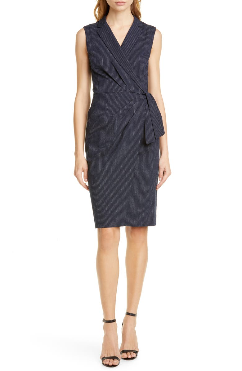 TAILORED BY REBECCA TAYLOR Pinstripe Sleeveless Dress, Main, color, NAVY COMBO