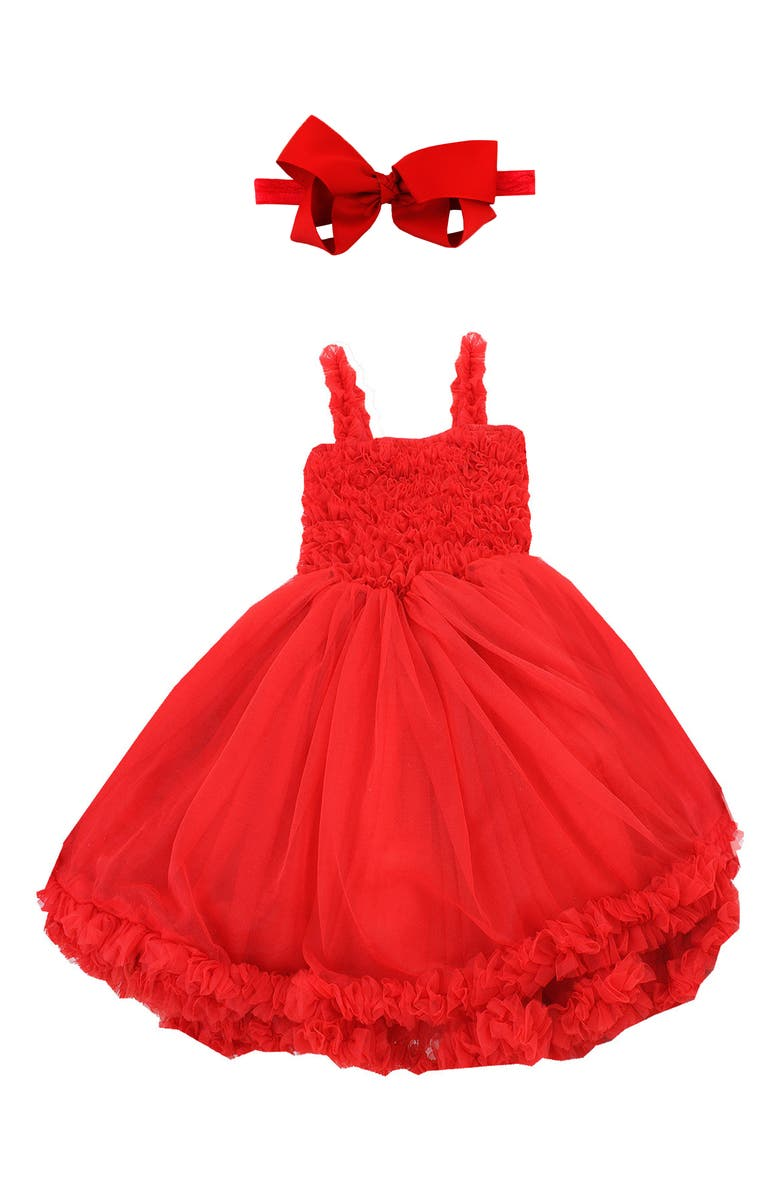 RUFFLEBUTTS Raspberry Pettidress & Bow Head Wrap Set, Main, color, RED