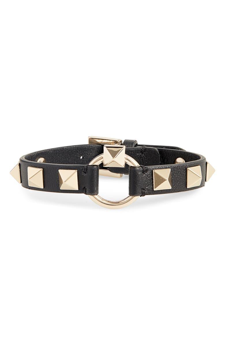 VALENTINO Rockstud Leather Bracelet, Main, color, BLACK