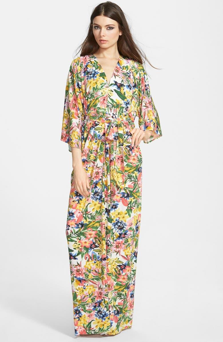 FILTRE Print Kimono Maxi Dress, Main, color, 700