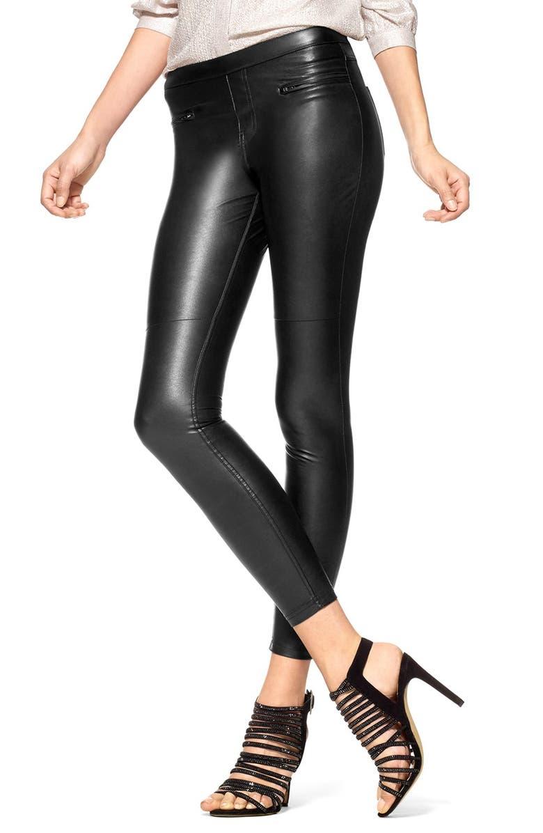 HUE 'Leatherette Skimmer' Faux Leather Leggings, Main, color, 001