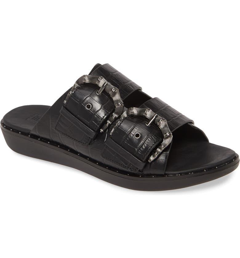 FITFLOP Kaia Slide Sandal, Main, color, BLACK LEATHER