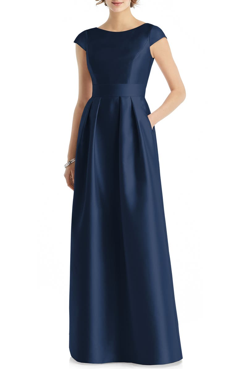ALFRED SUNG Cap Sleeve Gown, Main, color, MIDNIGHT
