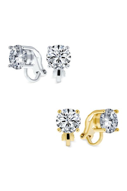 Image of Bling Jewelry Round Cut Crystal Stud Clip Back Earrings - Set of 2