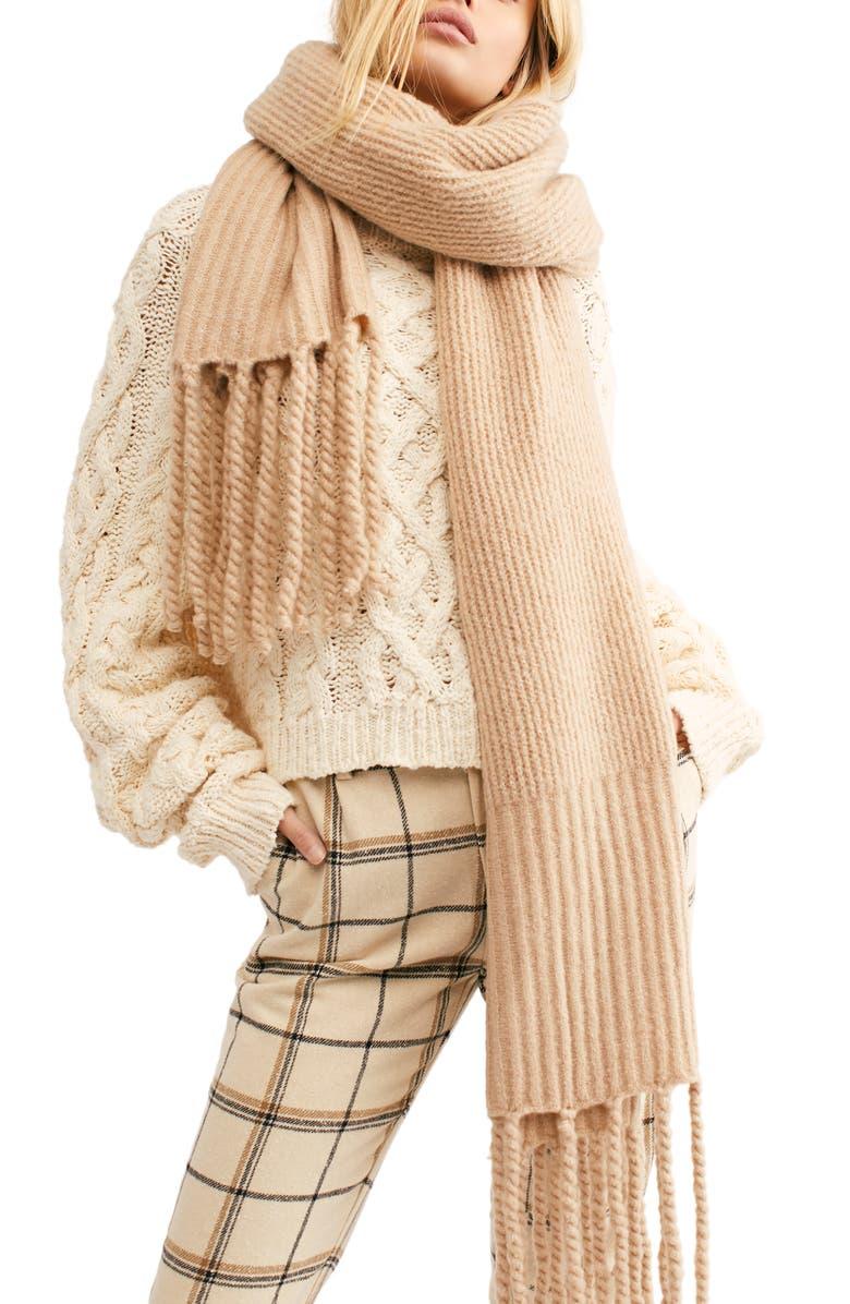 FREE PEOPLE Jaden Rib Knit Blanket Scarf, Main, color, 900
