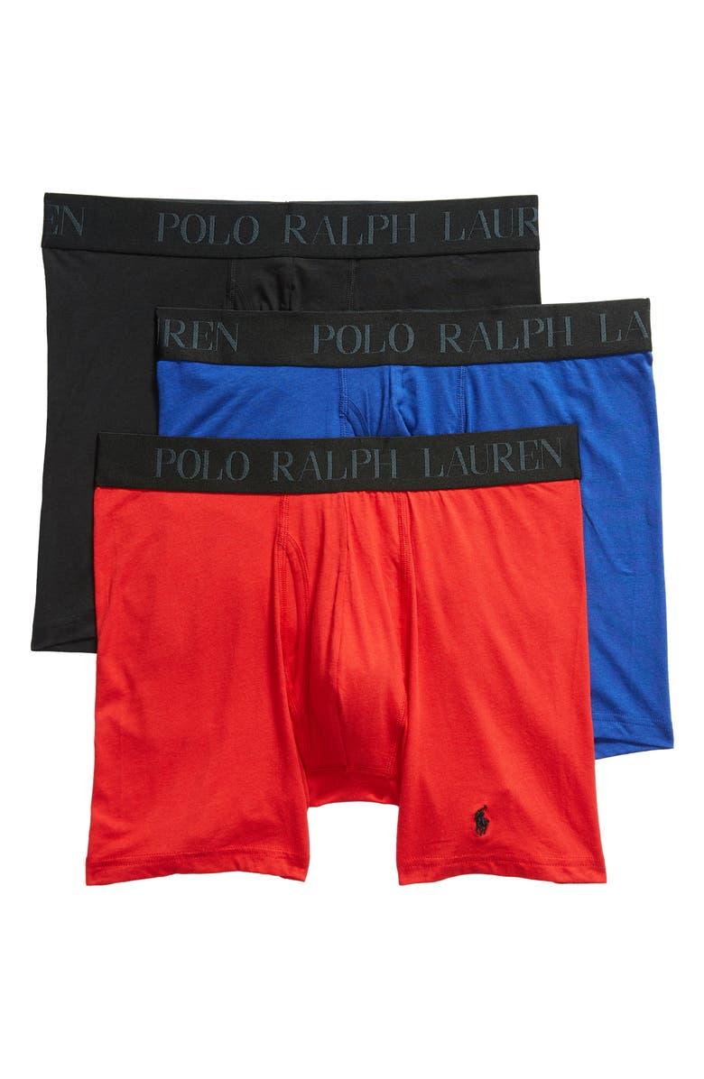 POLO RALPH LAUREN 4D 3-Pack Cotton & Modal Boxer Briefs, Main, color, ROYAL/ RED/ BLACK