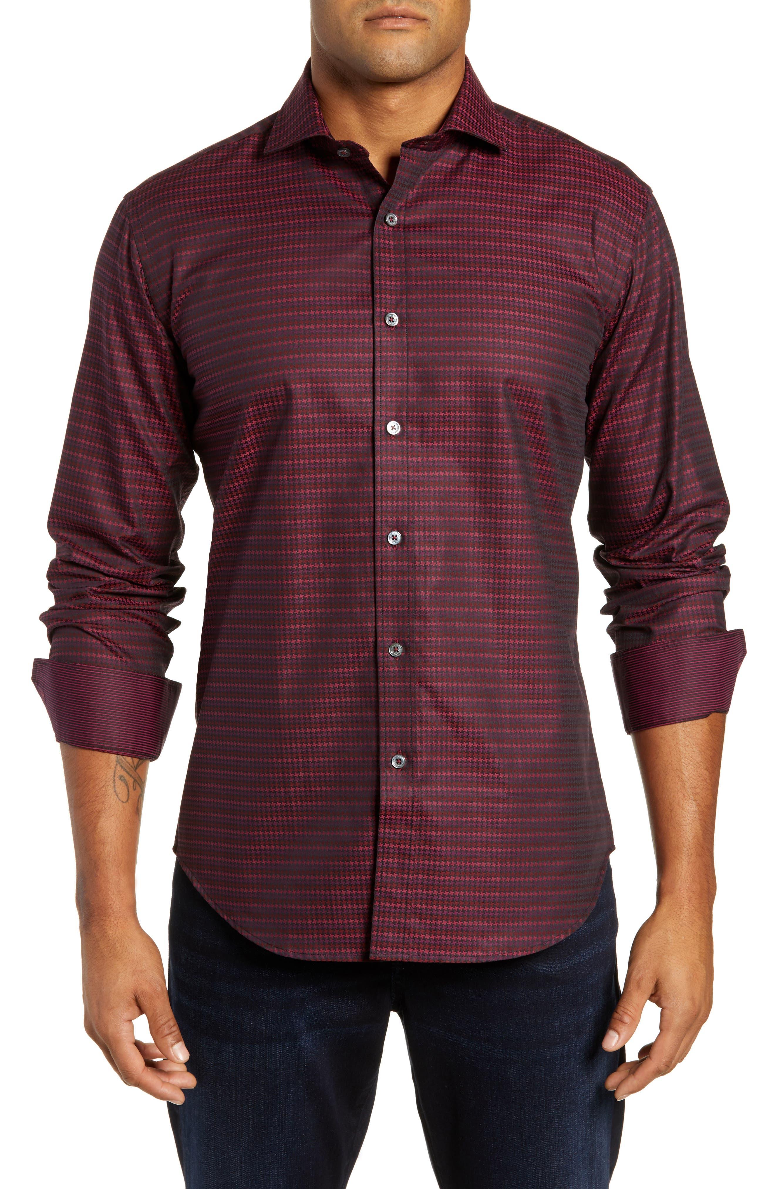 men's bugatchi shaped fit houndstooth stripe shirt