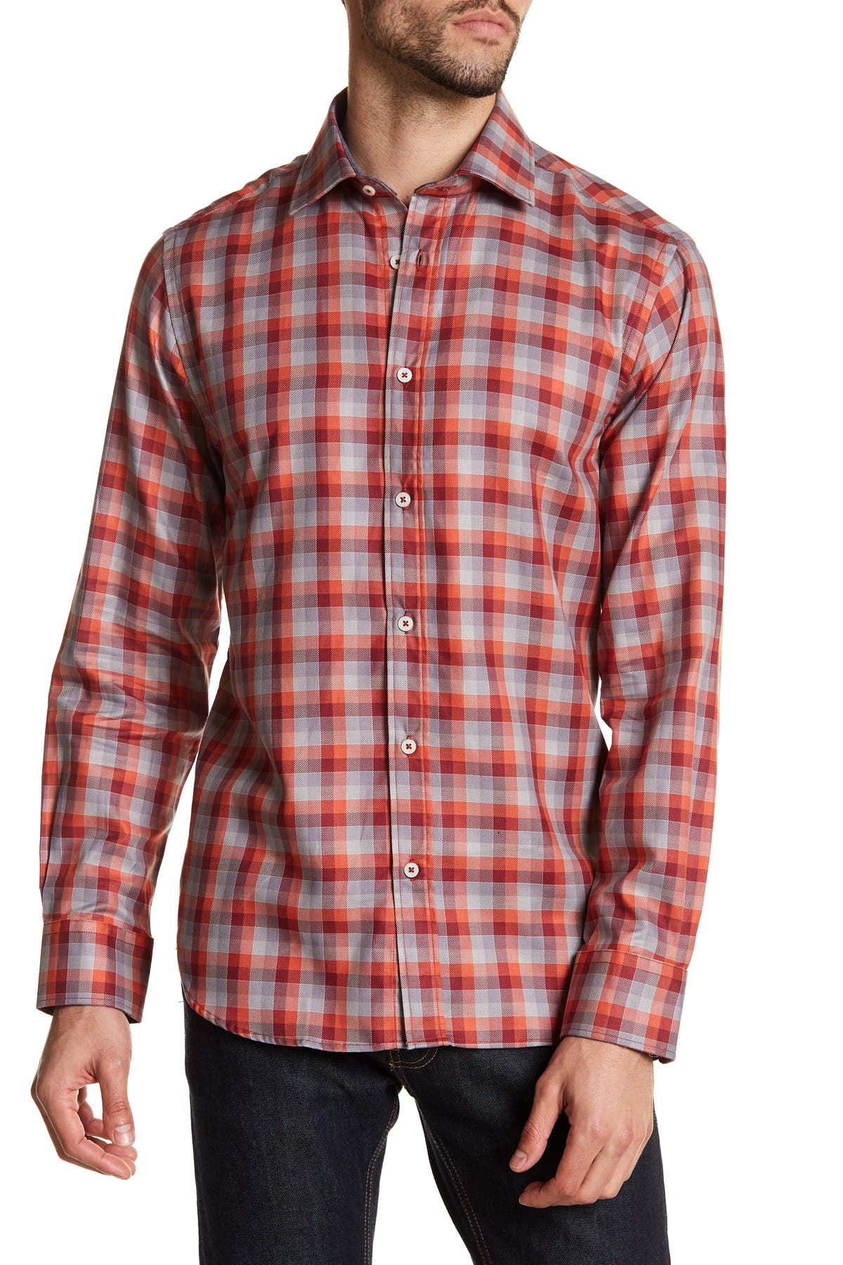 Image of James Tattersall Classic Fit Plaid Shirt