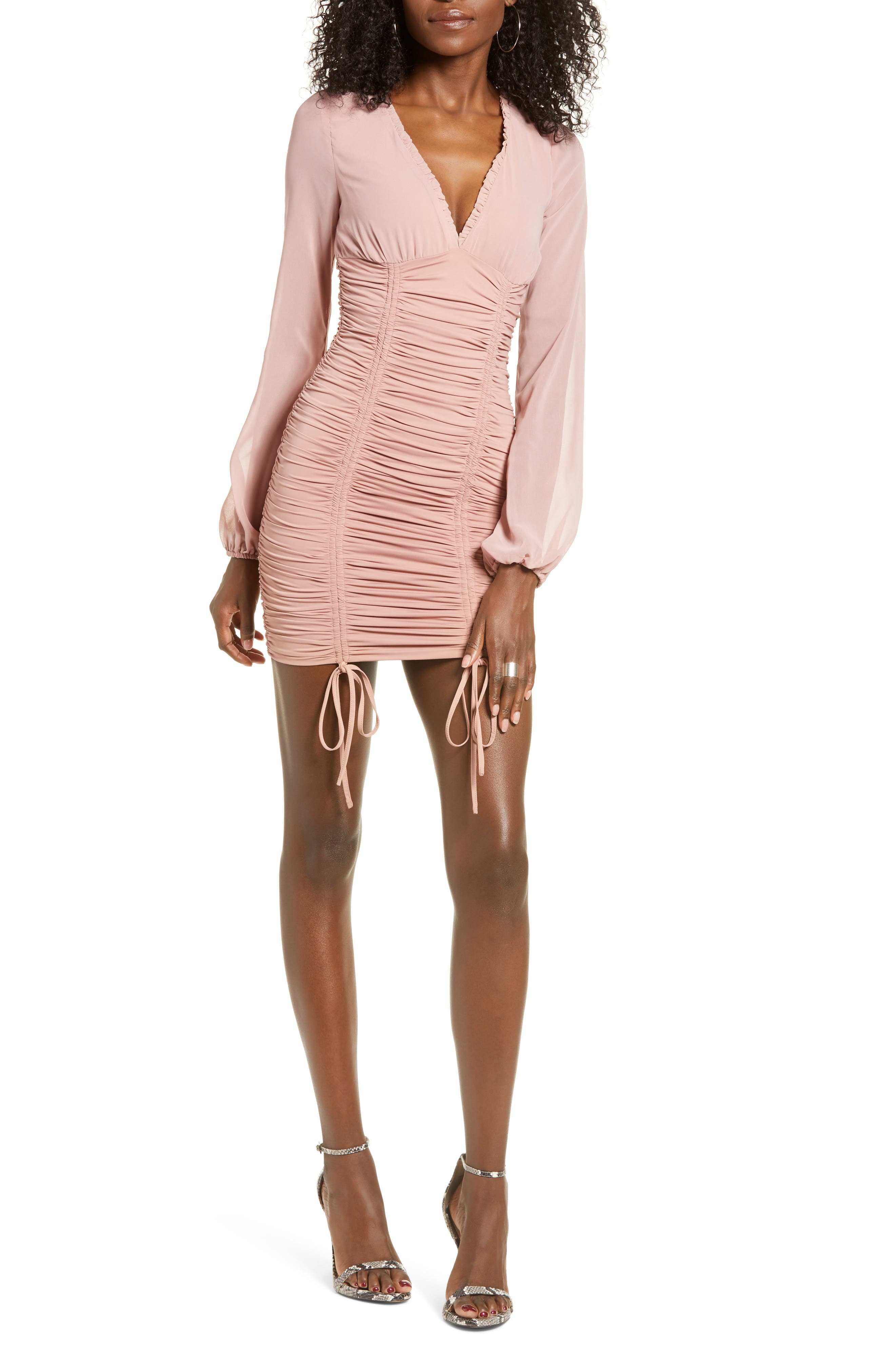 Tiger Mist Magnolia Ruched Long Sleeve Minidress