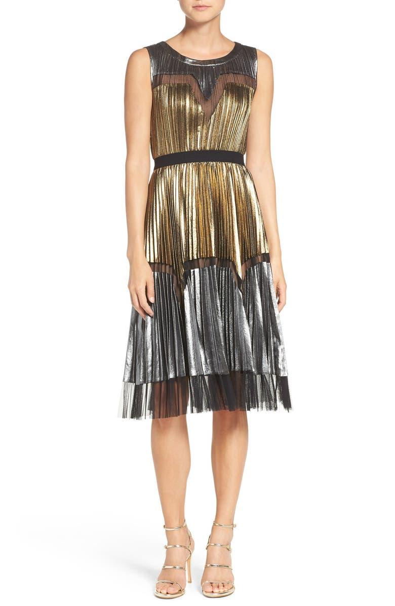 BCBG MAXAZRIA Lamé Midi Dress, Main, color, 711
