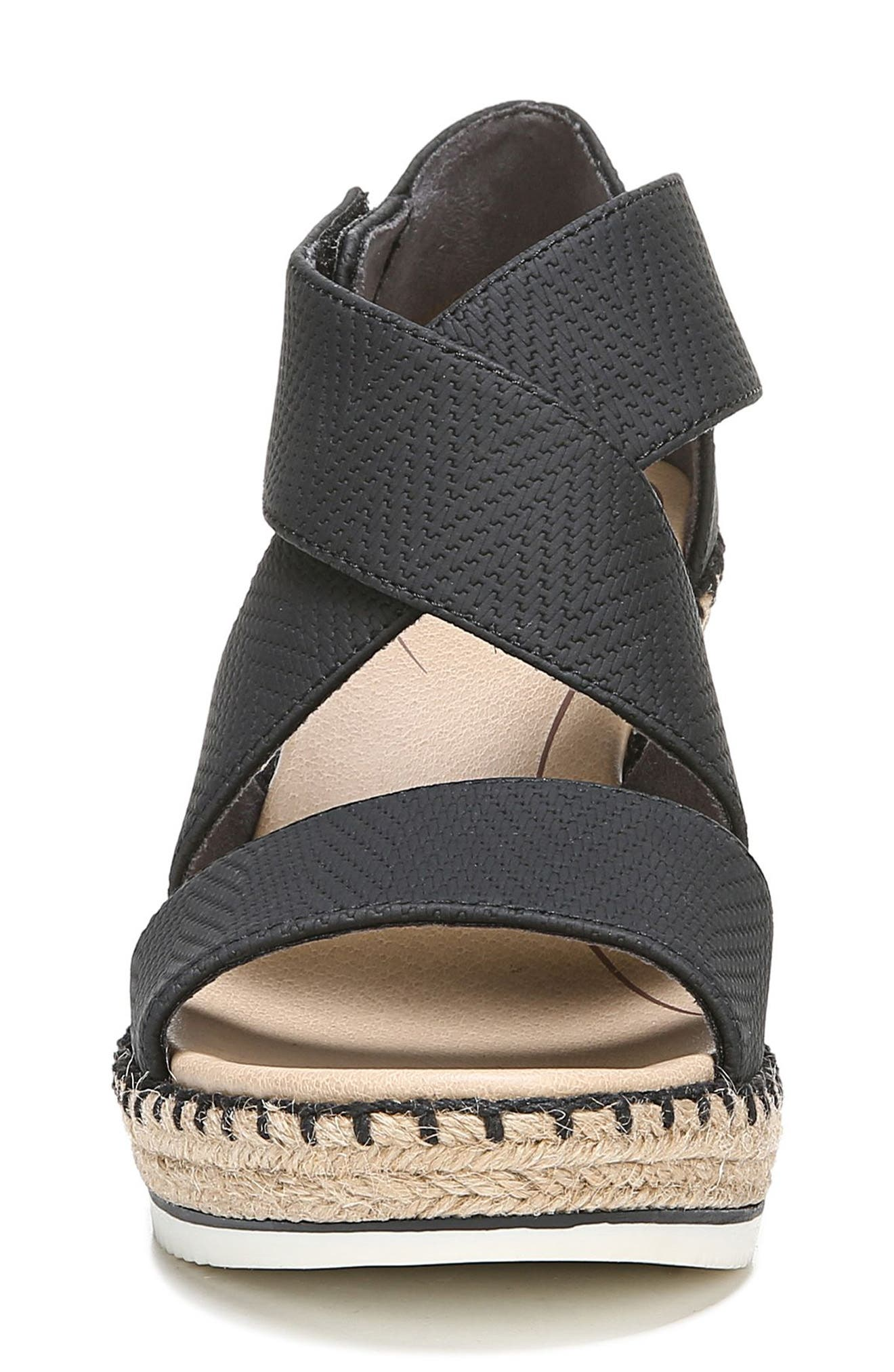 ,                             Vacay Wedge Sandal,                             Alternate thumbnail 4, color,                             BLACK FAUX LEATHER
