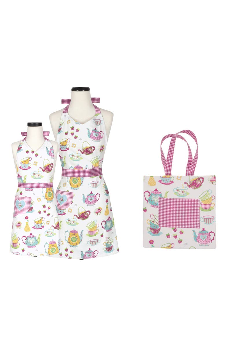 HANDSTAND KITCHEN Handstand KidsTeatime Print Adult & Kid Apron Gift Set with Tote, Main, color, PINK
