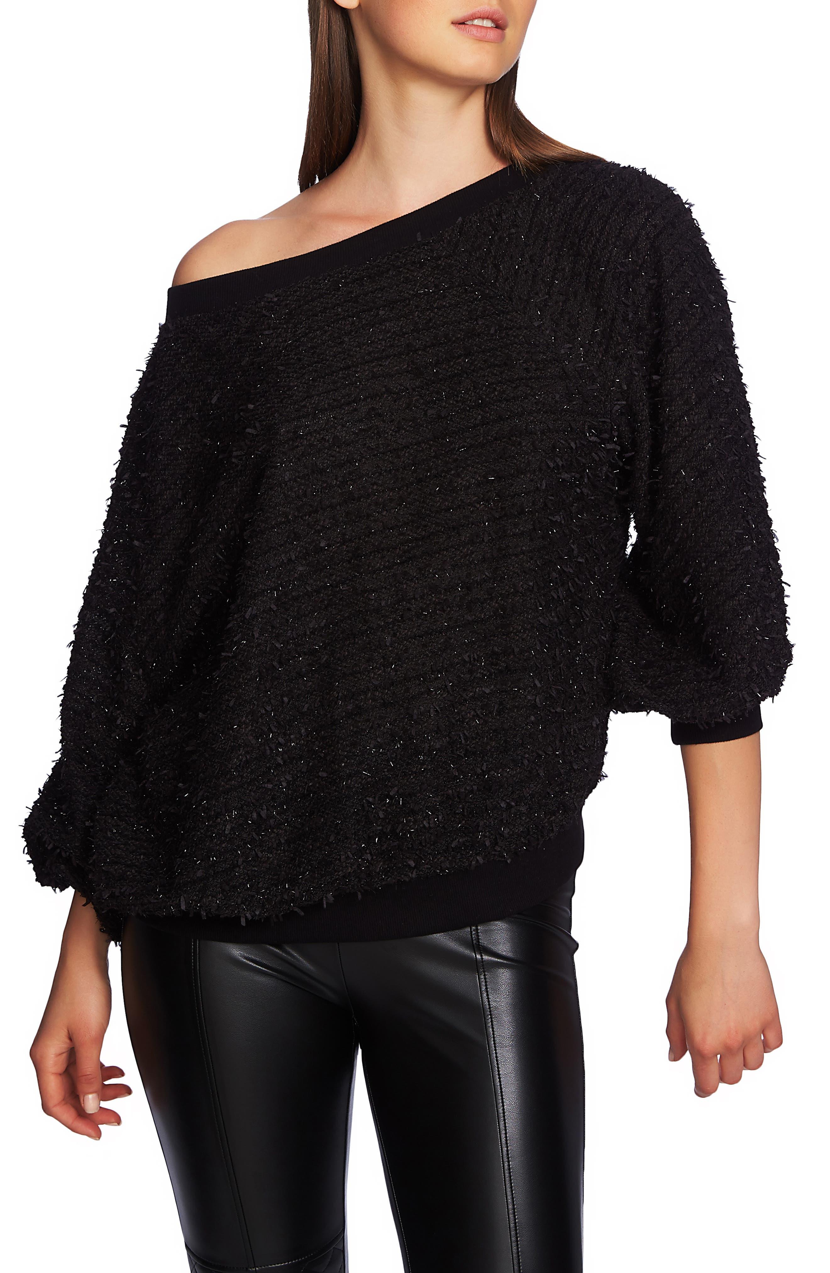 1.STATE Off Shoulder Sparkle Eyelash Sweatshirt