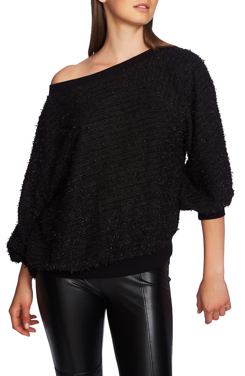 1.STATE Off Shoulder Sparkle Eyelash Sweatshirt, Main, color, RICH BLACK