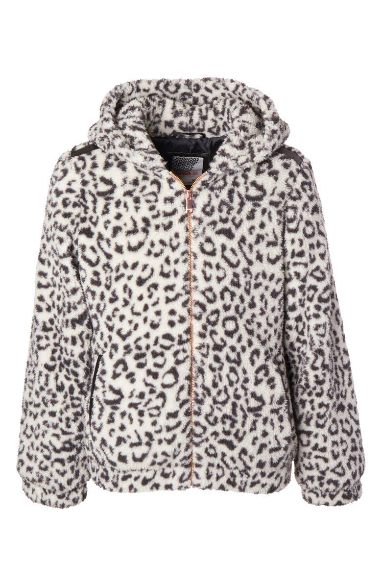 KENSIE GIRL Wubby Hooded Jacket, Main, color, CHETTAH