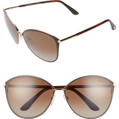 Tom Ford Penelope 5m Polarized Gradient Cat Eye Sunglasses - Shiny Rose Gold/ Smoke