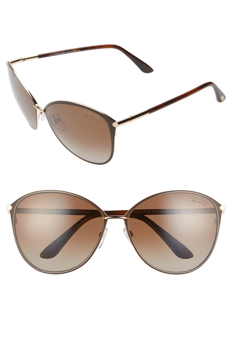 TOM FORD Penelope 59mm Polarized Gradient Cat Eye Sunglasses, Main, color, SHINY ROSE GOLD/ SMOKE