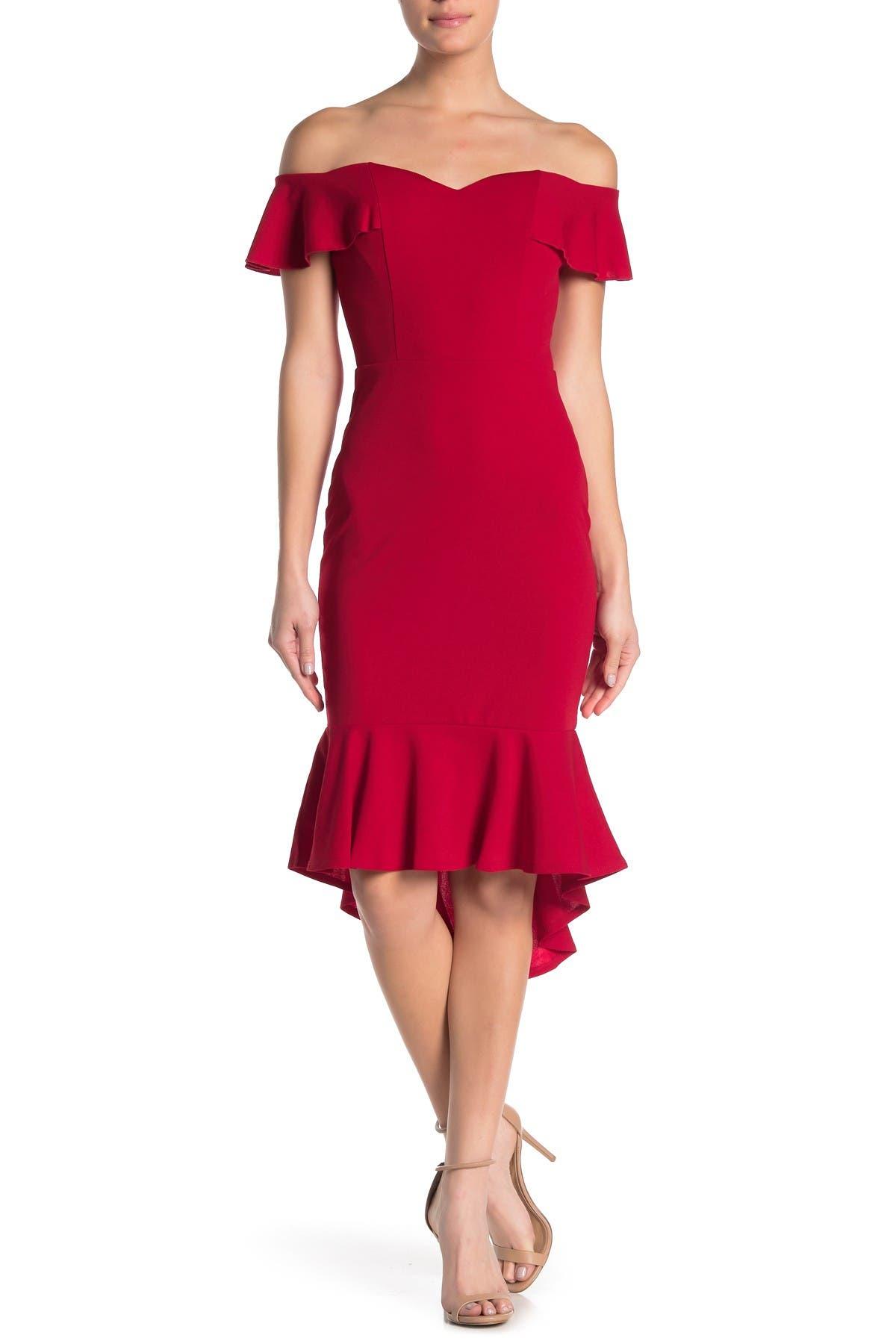 Image of BAILEY BLUE Off-the-Shoulder Dress