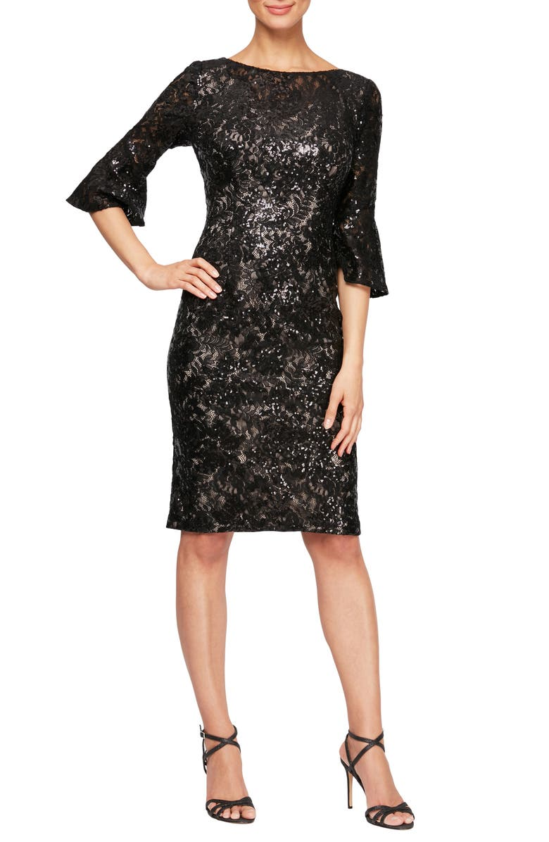 ALEX EVENINGS Embellished Lace Shift Dress, Main, color, BLACK/ NUDE