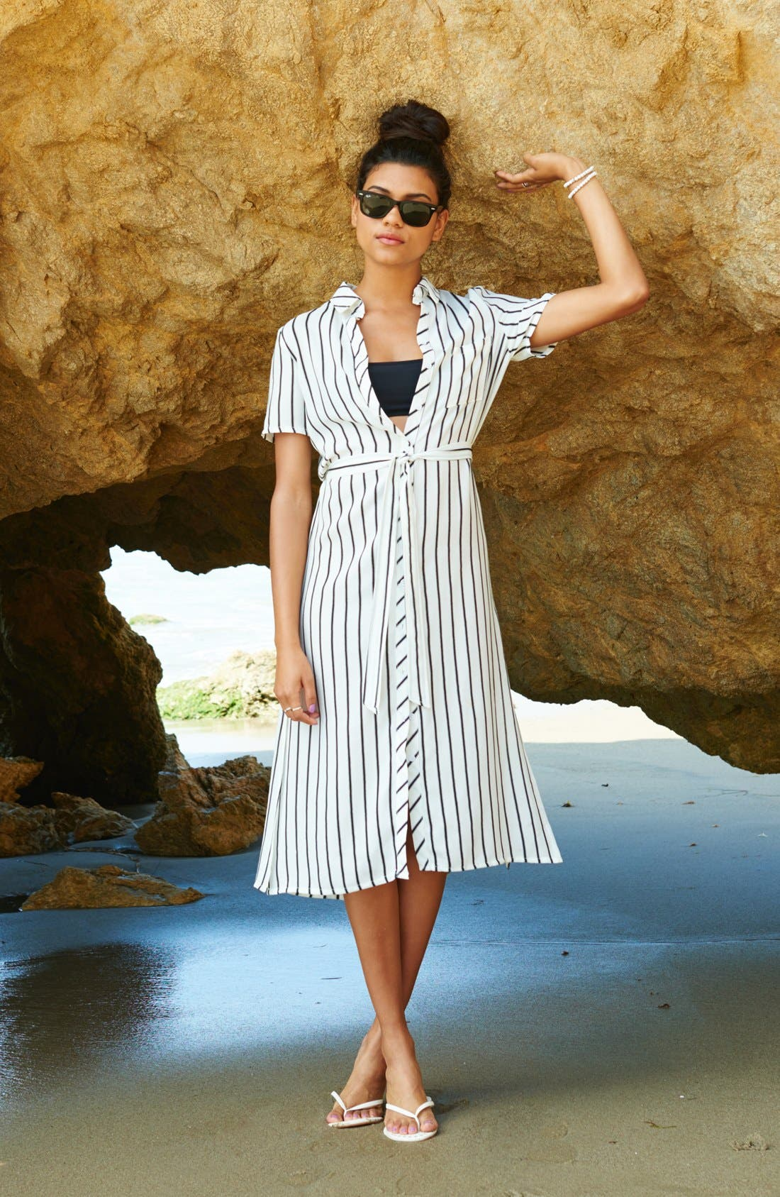 ,                             Belted Shirtdress,                             Alternate thumbnail 4, color,                             001
