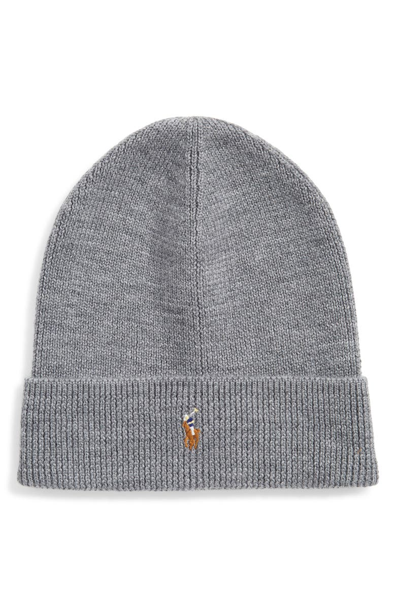 POLO RALPH LAUREN Classic Merino Wool Beanie, Main, color, CLASSIC GREY HEATHER