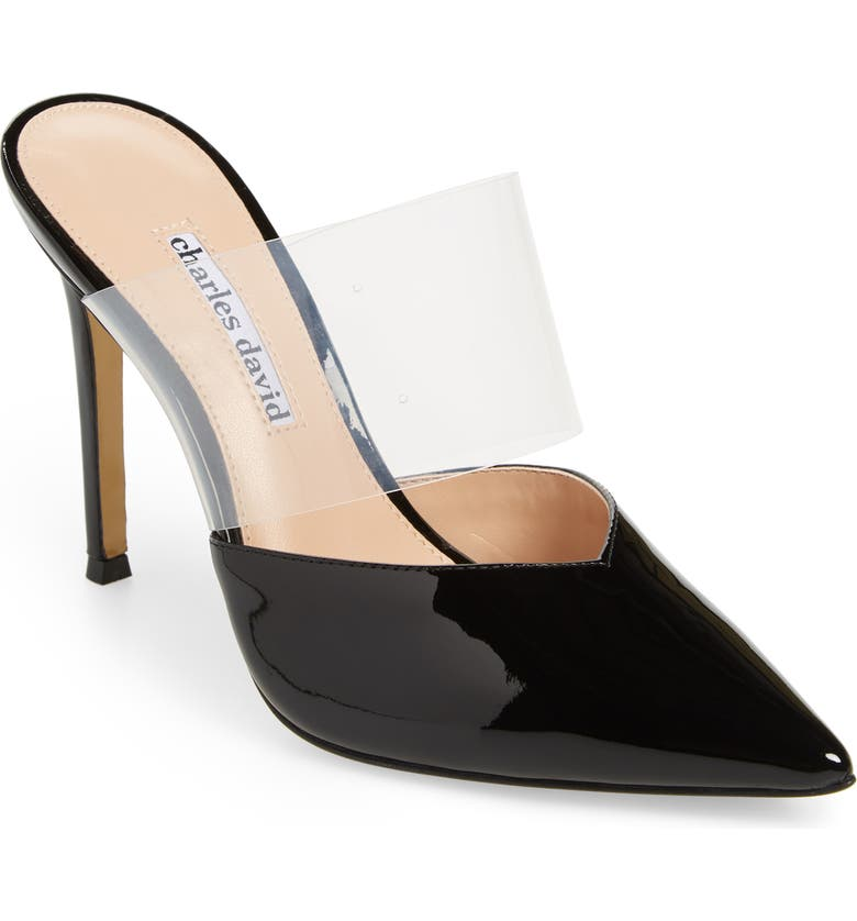 CHARLES DAVID Cammy Mule, Main, color, BLACK/ CLEAR PATENT LEATHER
