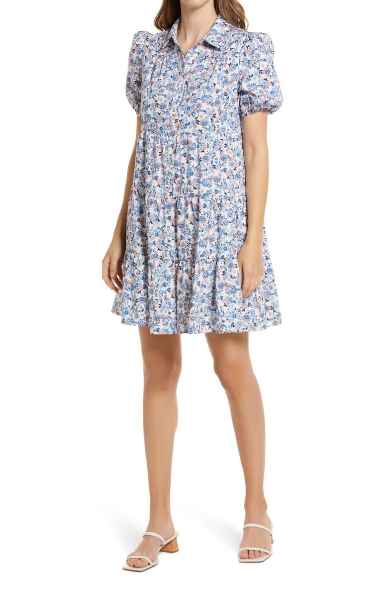 ELIZA J Floral Puff Sleeve Shirtdress, Main, color, 400