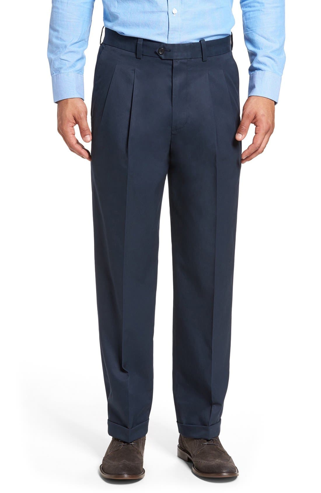 Relaxed, double-pleated trousers are crafted from durable Supima-cotton twill that\\\'s treated with Smartcare for a virtually wrinkle-free look. Style Name: Nordstrom Men\\\'s Shop Classic Smartcare Pleated Supima Cotton Dress Pants. Style Number: 5072771. Available in stores.