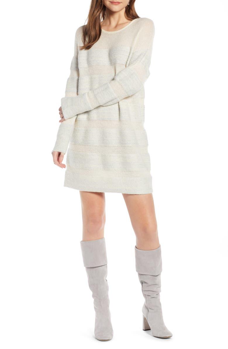 SOMETHING NAVY Metallic Stripe Sweater Dress, Main, color, 900