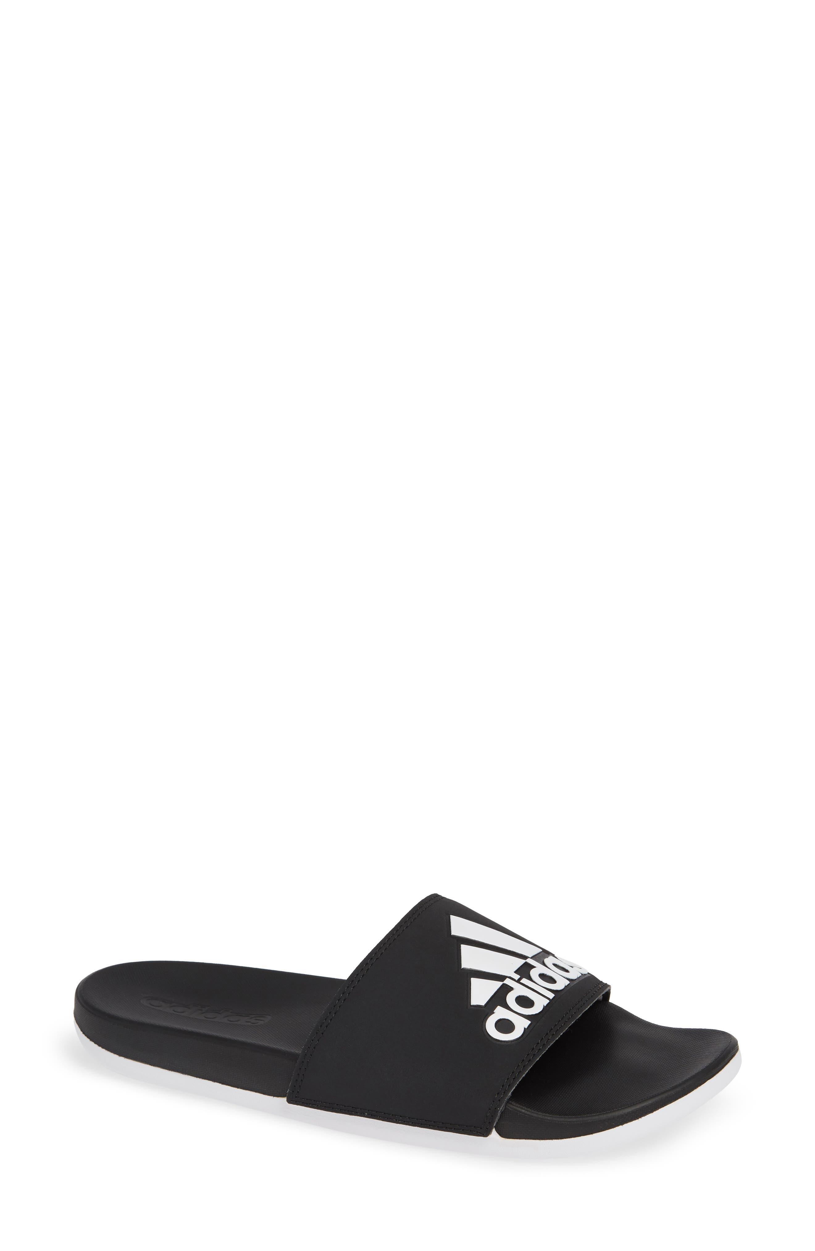 ,                             Adilette Comfort Slide Sandal,                             Main thumbnail 1, color,                             BLACK/ BLACK/ WHITE