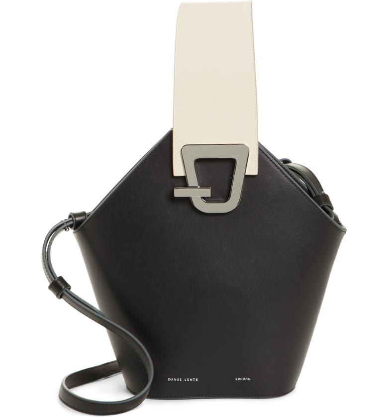 DANSE LENTE Johnny Leather Bucket Bag, Main, color, BLACK