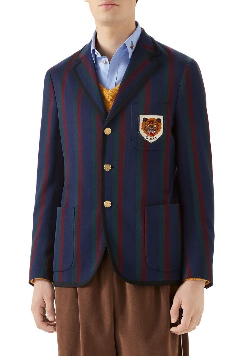 GUCCI Tiger Patch Stripe Cotton Jacket, Main, color, BLUE/ RED/ MC