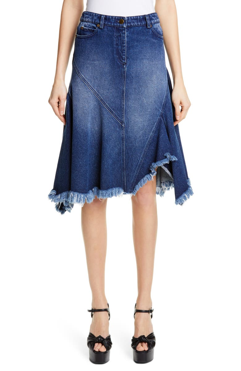 MICHAEL KORS COLLECTION Michael Kors Handkerchief Denim Skirt, Main, color, INDIGO