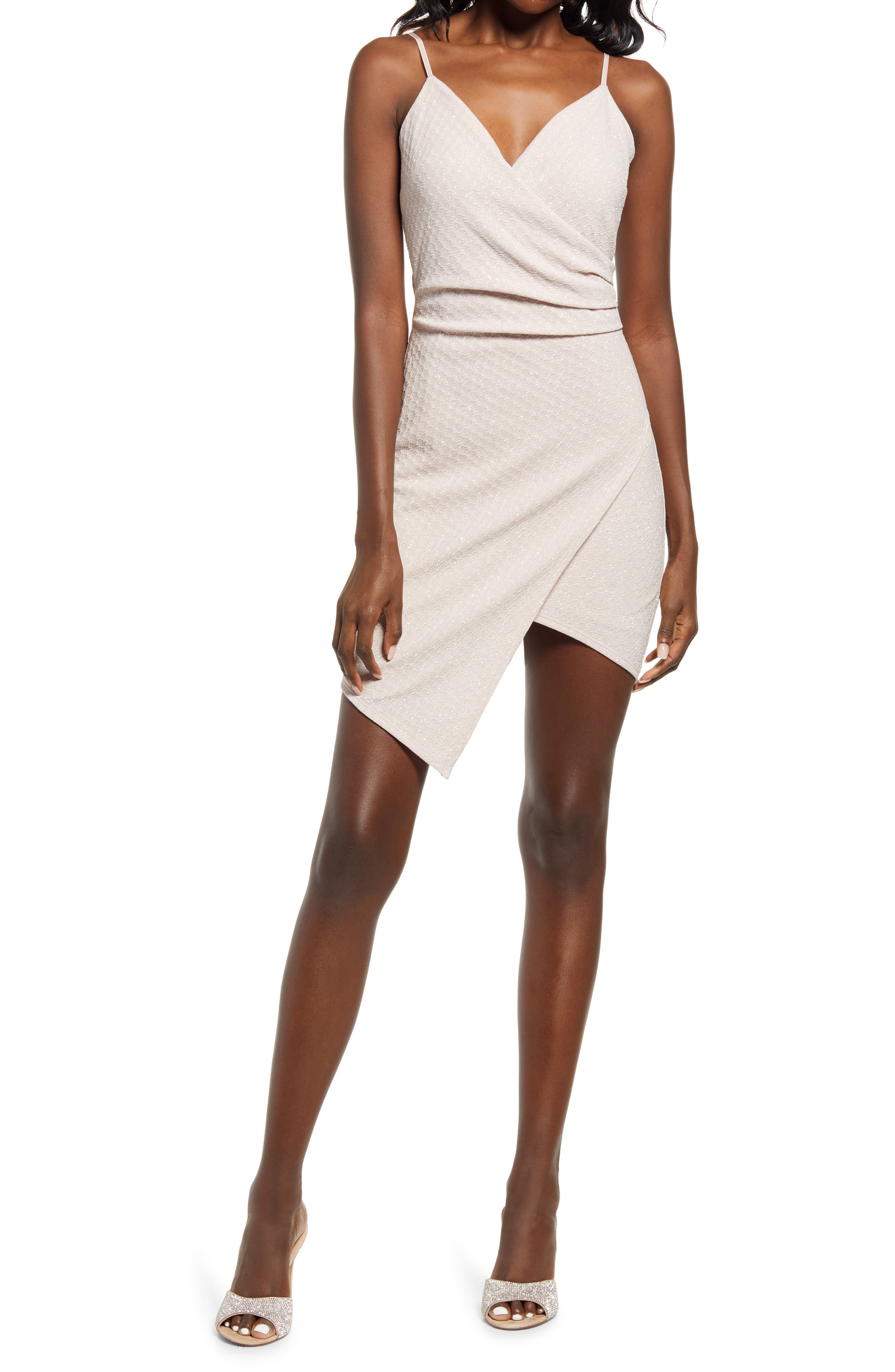 Women's Lnl Asymmetric Glitter Knit Minidress