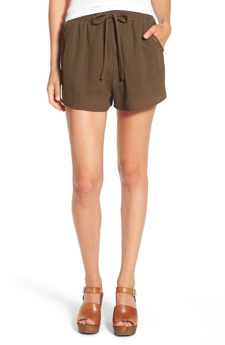 CHLOE & KATIE Woven Drawstring Shorts, Main, color, 300