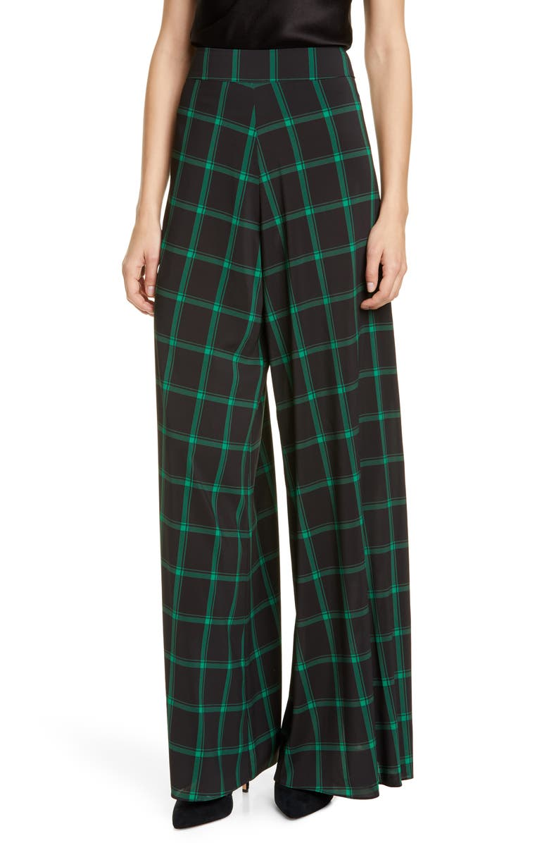 ALICE + OLIVIA Athena Tartan Wide Leg Flare Pants, Main, color, MD PLAID BLACK/ EMERALD