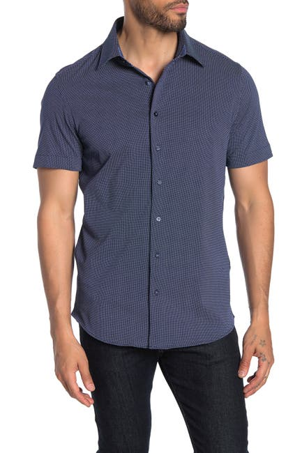 Image of Stone Rose Micro Dot Print Short Sleeve Regular Fit Shirt