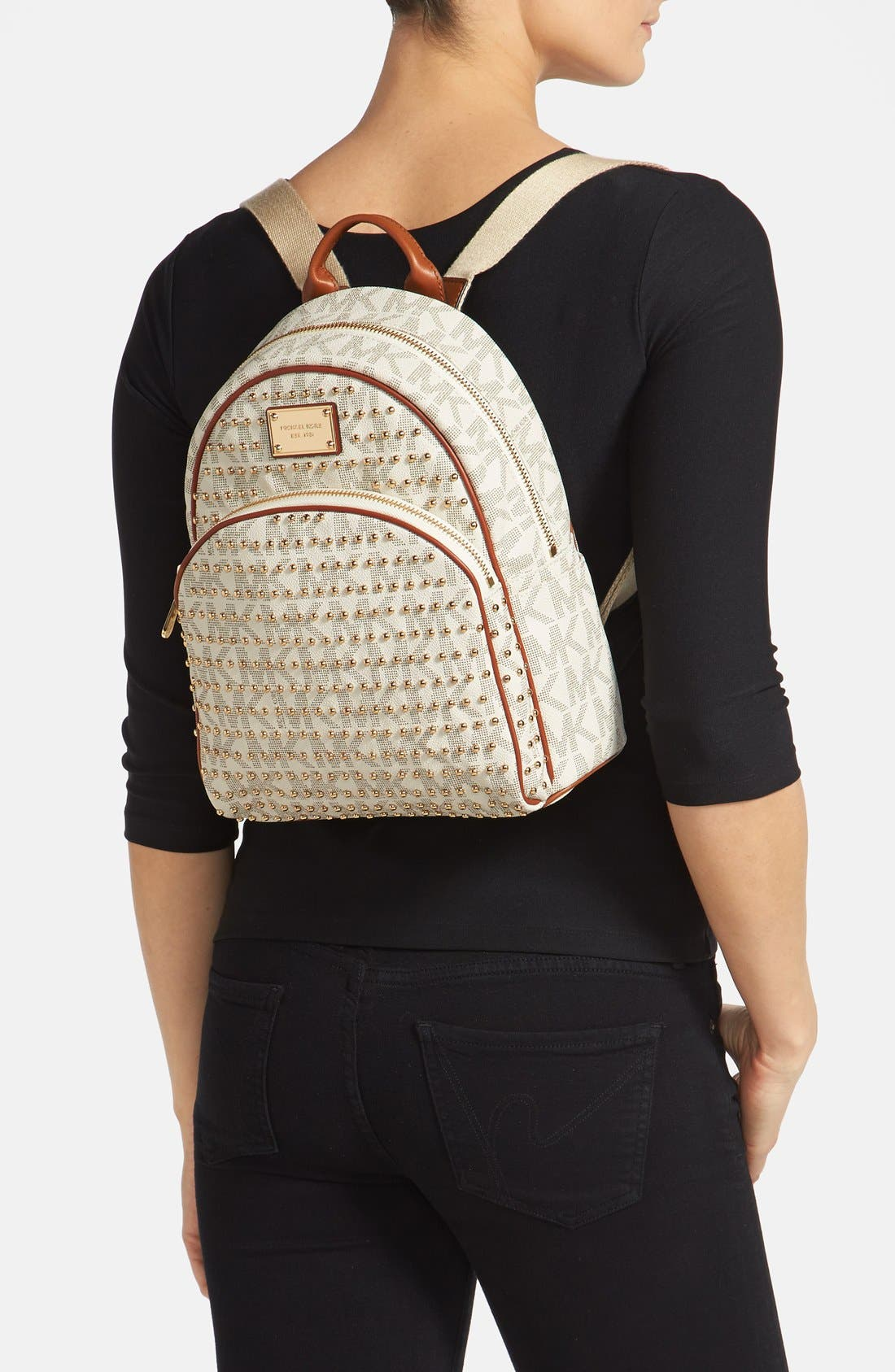 ,                             'Small' Studded Backpack,                             Alternate thumbnail 3, color,                             150