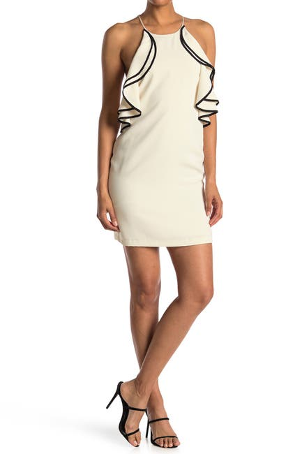 Image of HALSTON High Halter Ruffle Dress