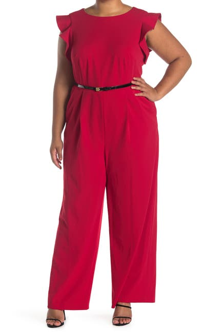 Image of Calvin Klein Ruffle Cap Sleeve Belted Jumpsuit