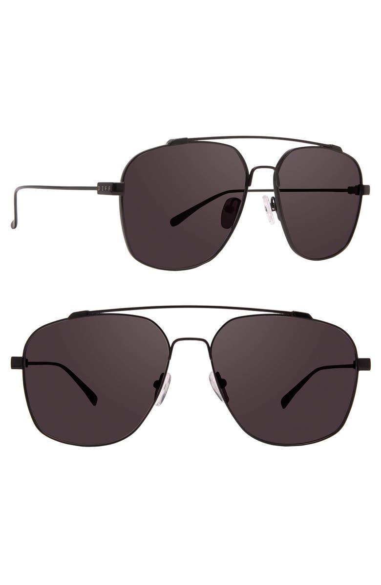 DIFF Atlas 58mm Navigator Sunglasses, Main, color, BLACK/ GREY