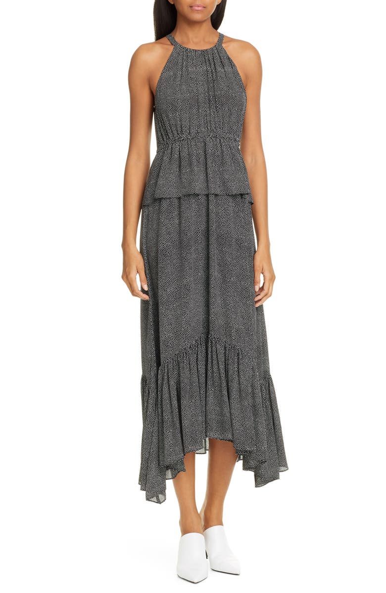 A.L.C. Rosa Polka Dot Silk Dress, Main, color, 001