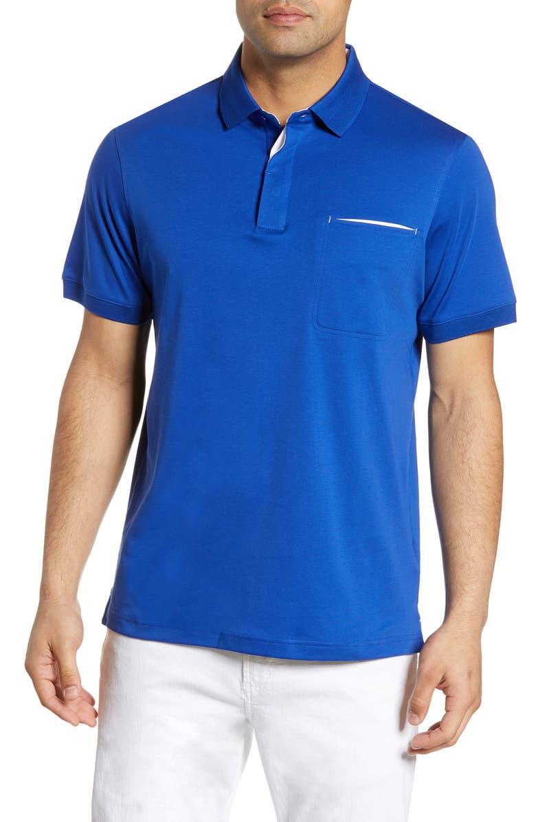 BUGATCHI Contrast Trim Polo, Main, color, NIGHT BLUE